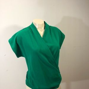Anthropologie Mauve Green Wrap Blouse size small